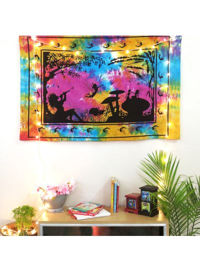 Multicolor Cotton Tie Dye Fairy Land Wall Hanging Poster Online