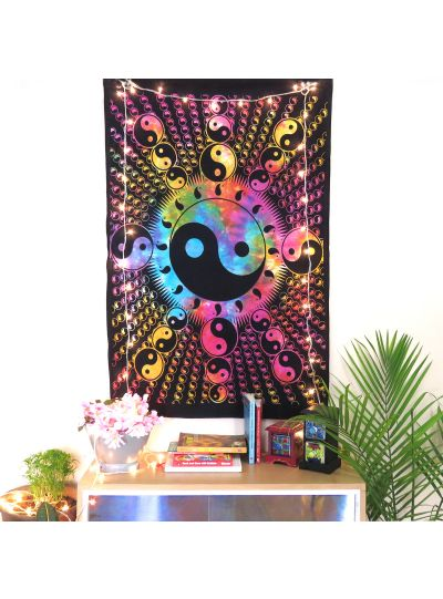 Multicolor Cotton Printed Yin Yang Wall Hanging Poster Online