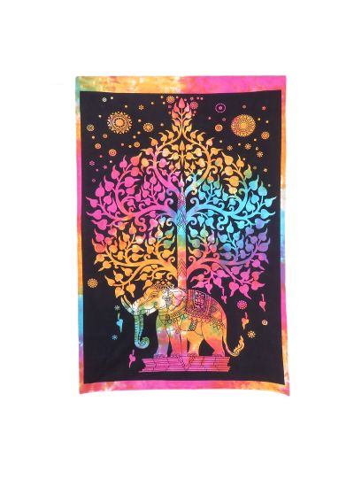 Multicolor Cotton Printed Elephant Tree of Life Wall Hanging Poster Online