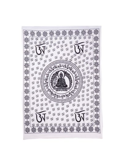 Black and White Cotton Printed Om Buddha Wall Hanging Poster Online