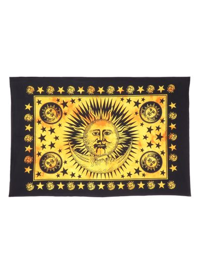 Yellow Cotton Printed Sun and Moon Wall Hanging Poster Online