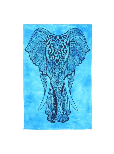 Turquoise Cotton Printed Elephant Wall Hanging Poster Online