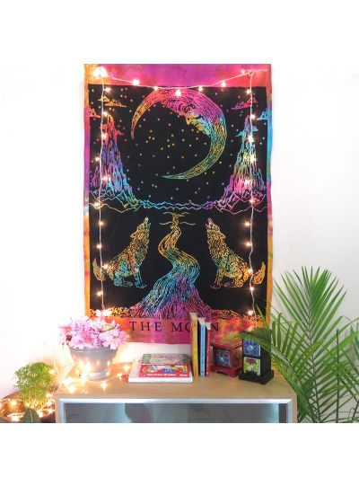 Multicolor Cotton Printed Half Moon Wolf  Wall Hanging Poster Online