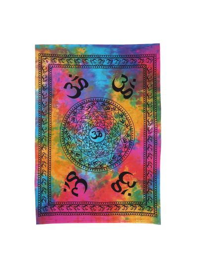 Multicolor Cotton Tie Dye Om Mandala Wall Hanging Poster Online