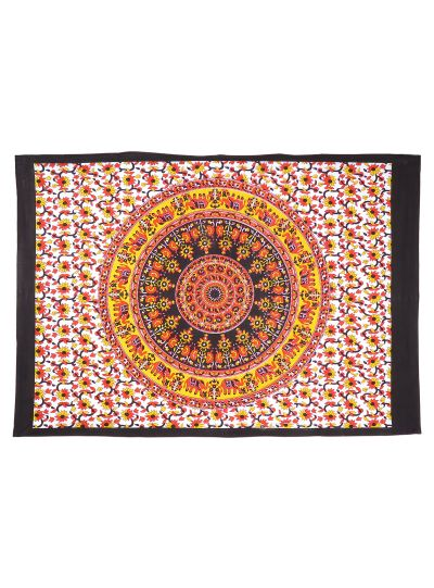 Multicolor Cotton Printed Elephant Floral Mandala Wall Hanging Poster Online