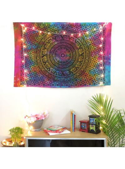 Multicolor Cotton Printed Elephant Mandala Wall Hanging Poster Online