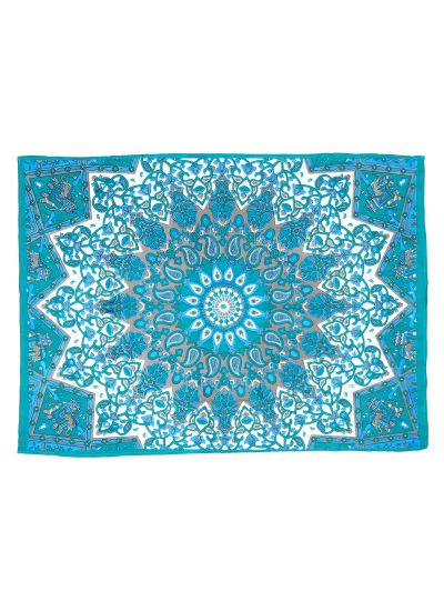 Turquoise Cotton Printed Star Mandala Wall Hanging Poster Online