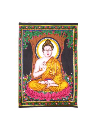 Multicolor Cotton Printed Buddha Wall Hanging Poster Online
