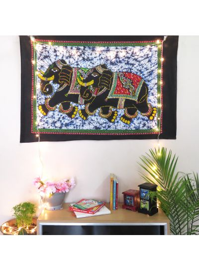 Black and White Cotton Printed Elephant Wall Hanging Poster Online