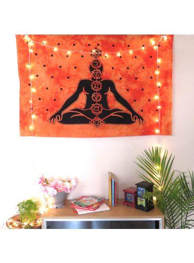 Orange Cotton Printed Meditation Chakras Wall Hanging Poster Online