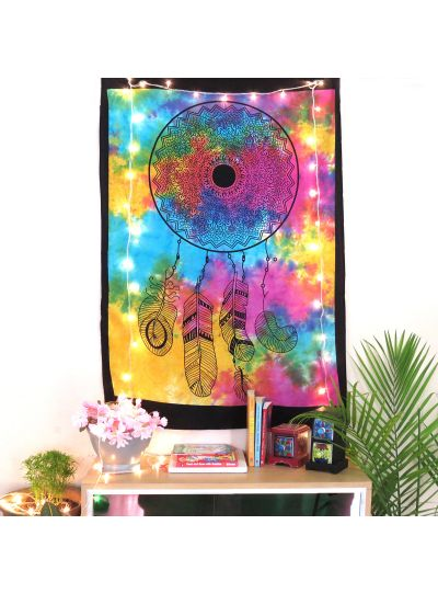 Multicolor Cotton Tie Dye Dream Catcher Wall Hanging Poster Online