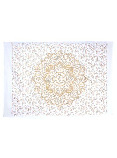 Golden Cotton Printed Lotus Mandala Wall Hanging Poster Online