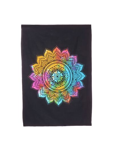 Black Cotton Printed Lotus Mandala Wall Hanging Poster Online