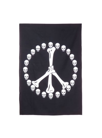 Black Cotton Printed Hippie Peace Sign Wall Hanging Poster Online