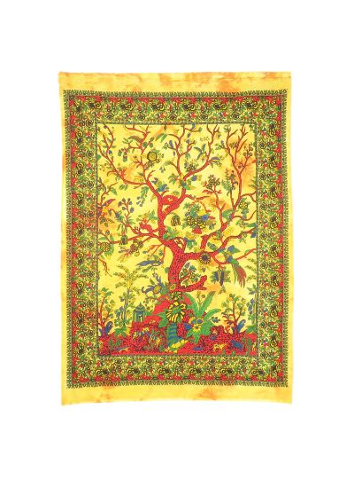Yellow Cotton Printed Tree of Life Wall Hanging Poster Online