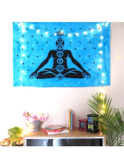 Blue Cotton Printed Meditation Chakras Wall Hanging Poster Online