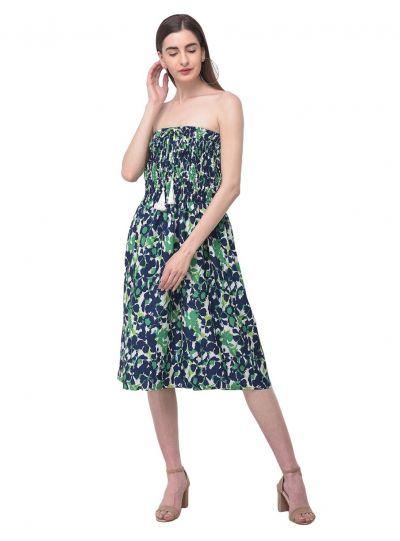 Women Green Strapless Tube Dress Floral Printed Short Summer Mini Dress