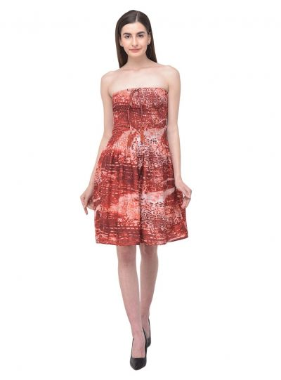 Women Abstract Print Tube Dress Maroon Strapless Printed Short Dress