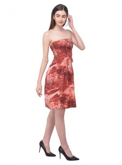 Women Abstract Print Tube Dress Maroon Strapless Printed Short Dress