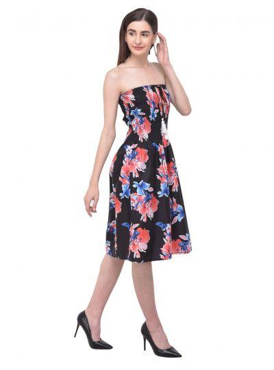 Women Black Tube Dress Strapless Floral Printed Short Summer Dress