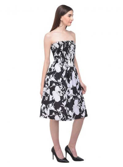 Women Black Strapless Tube Dress Floral Printed Casual Mini Dress