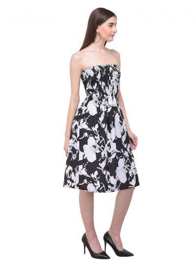 Women Black Strapless Tube Dress Floral Printed Casual Mini Dress