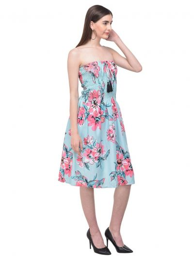 Turquoise Strapless Floral Printed Short Tube Dress for Women Fashion