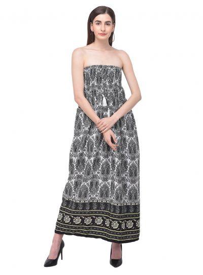 Women Black Tube Dress Strapless Paisley Printed Evening Long Maxi Dress