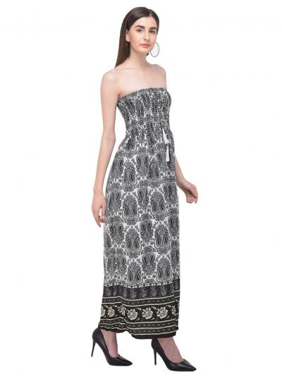 Women Black Tube Dress Strapless Paisley Printed Evening Long Maxi Dress