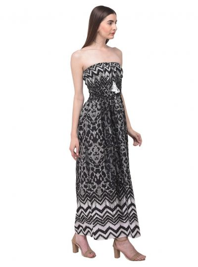 Women Black Strapless Geometric Printed Long Maxi Tube Dress