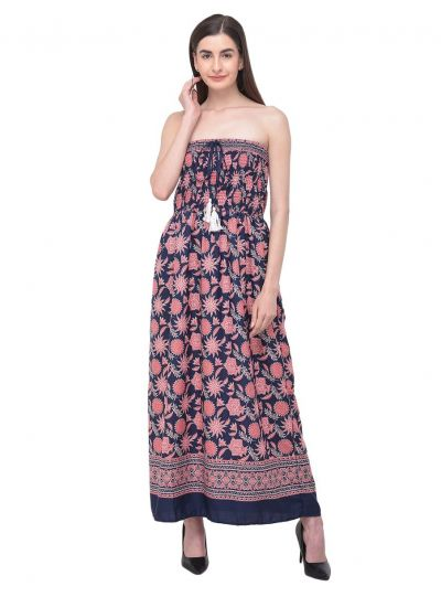 Women Pink Long Dress Strapless Floral Leaf Printed Tube Dress