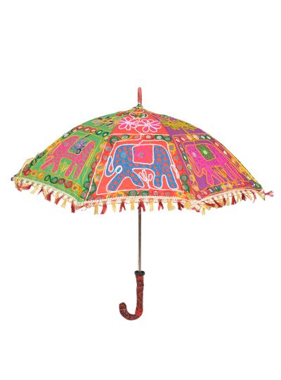 Multicolor Beautiful Hand Embroidered Colorful Traditional Sun Umbrella