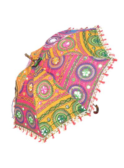 Multicolor Ethnic Boho Handmade Floral Pattern Mirror Work Embroidered Parasol Sun Umbrella