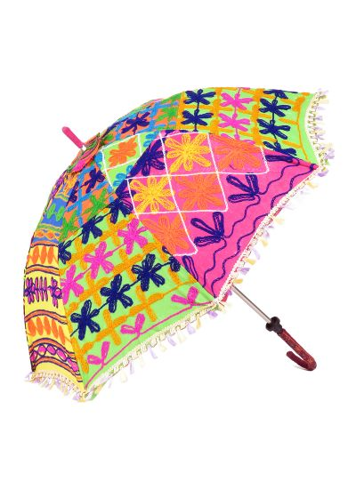 Neon Ethnic Handmade Elephant Pattern Mirror Work Embroidered Parasol Sun Umbrella