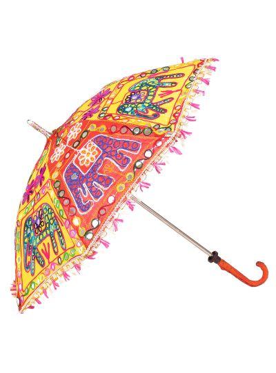 Multicolor Embroidered Ethnic Handmade Decorative Parasol Sun Umbrella