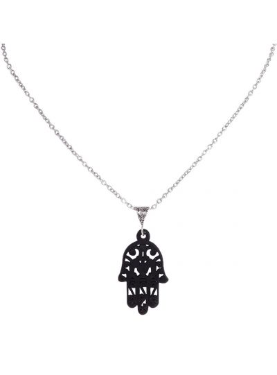 Black Handmade Wooden Hamsa Pendant for Women Wooden Fashion Jewelry