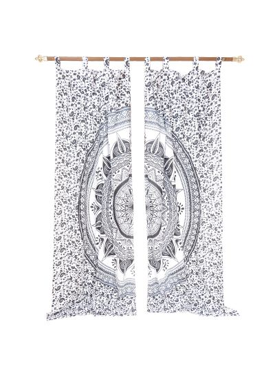 Gray Cotton Handmade Printed Floral Mandala Curtains for Window Living Room Indian Tapestry Decor