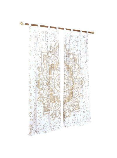 White Cotton Handmade Printed Lotus Mandala Curtains for Window Living Room Indian Tapestry Decor