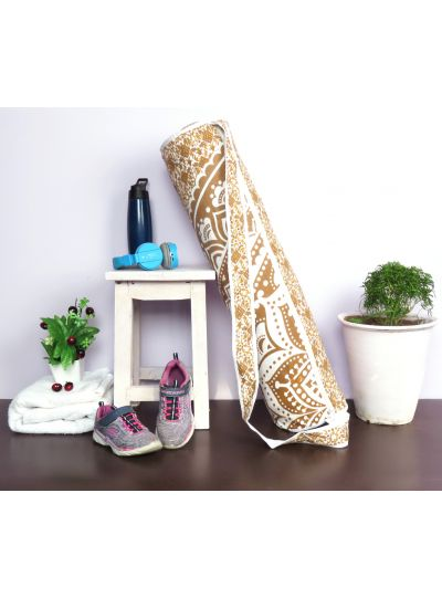 Brown Handmade Mandala Yoga Mat Bag Cotton Printed Mat Carrying Bag with Shoulder Strap