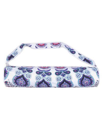 Blue Handmade Boho Mandala Yoga Mat Bag Cotton Printed Mat Carrying Bag with Shoulder Strap