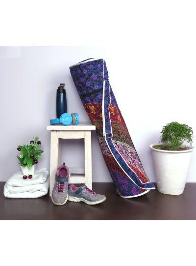 Multicolor Handmade Floral Mandala Yoga Mat Bag Cotton Printed Mat Carrying Bag with Shoulder Strap