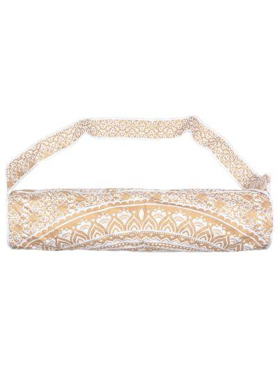 Golden Handmade Mandala Yoga Mat Bag Cotton Printed Mat Carrying Bag with Shoulder Strap