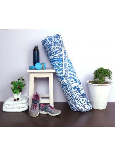 Blue Handmade Printed Mandala Yoga Mat Bag Cotton Printed Mat Carrying Bag with Shoulder Strap
