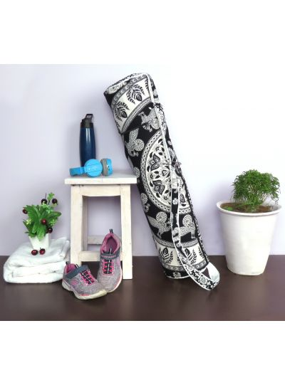 Black Handmade Hippie Boho Yoga Mat Bag Cotton Printed Mat Carrying Bag with Shoulder Strap