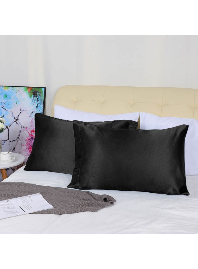 Oussum Black Handmade Solid Silk Satin Home Decor Pillow Cover Set Of 2